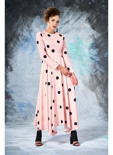Eda Atalay Puantiyeli Elbise Pudra